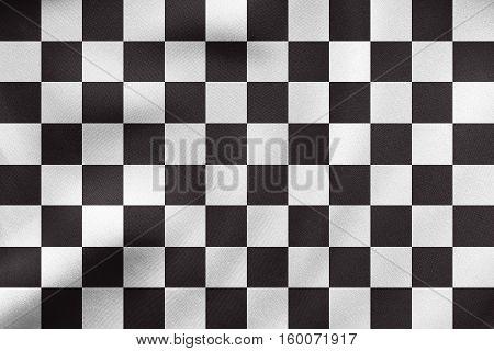 Checkered Racing Flag Waving, Real Fabric Texture