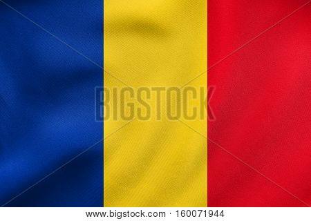 Flag Of Romania Waving, Real Fabric Texture