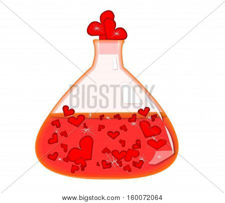 Vector image of a flask.Red flask with hearts.