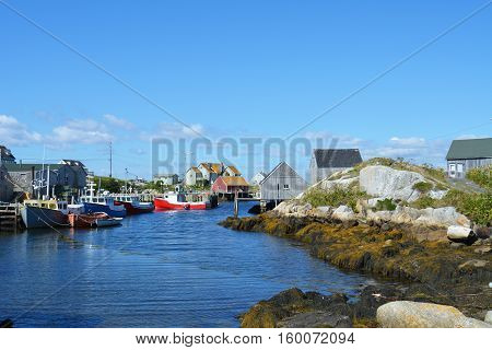PEGGY'S COVE, NS. - AUGUST, 2016: The famous fishing village of Peggy's Cove, Nova Scotia