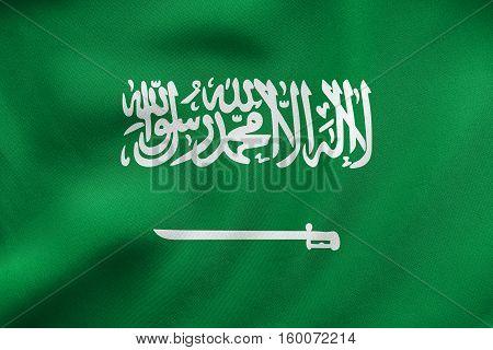 Saudi Arabia Flag Waving, Real Fabric Texture