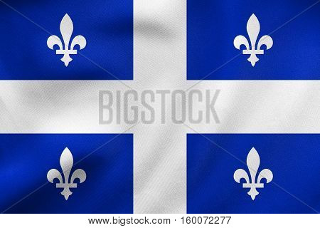 Flag Of Quebec Waving, Real Fabric Texture