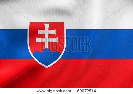 Flag Of Slovakia Waving, Real Fabric Texture