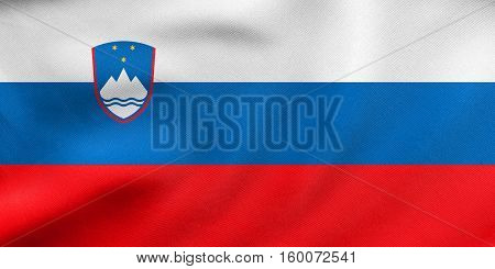 Flag Of Slovenia Waving, Real Fabric Texture