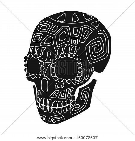 Mexican calavera skull icon in black style isolated on white background. Mexico country symbol vector illustration.