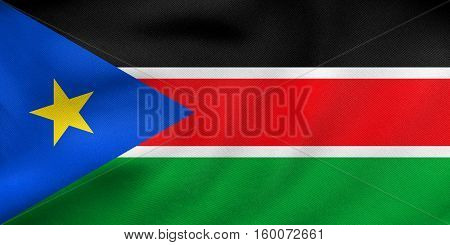 Flag Of South Sudan Waving, Real Fabric Texture
