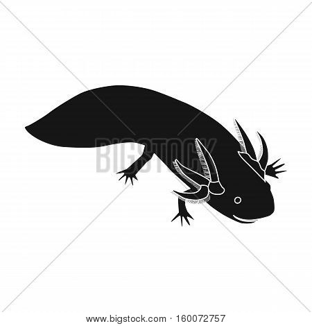 Mexican axolotl icon in black style isolated on white background. Mexico country symbol vector illustration.