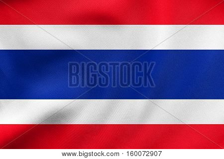 Flag Of Thailand Waving, Real Fabric Texture