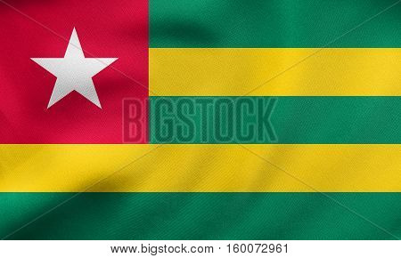 Flag Of Togo Waving, Real Fabric Texture