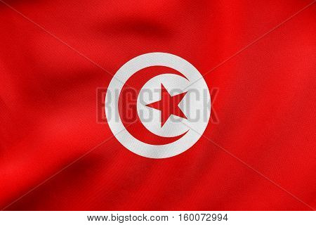 Flag Of Tunisia Waving, Real Fabric Texture