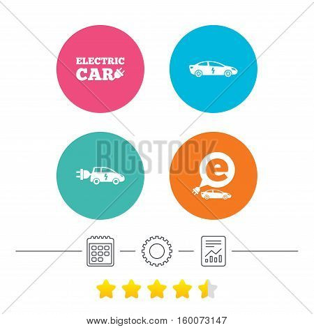 Electric car icons. Sedan and Hatchback transport symbols. Eco fuel vehicles signs. Calendar, cogwheel and report linear icons. Star vote ranking. Vector