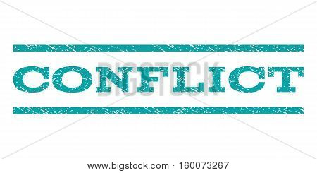 Conflict watermark stamp. Text tag between horizontal parallel lines with grunge design style. Rubber seal cyan stamp with scratched texture. Vector ink imprint on a white background.