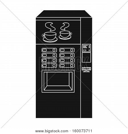 Office coffee vending machine icon in black style isolated on white background. Office furniture and interior symbol vector illustration.