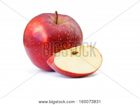 red apple with part on white background