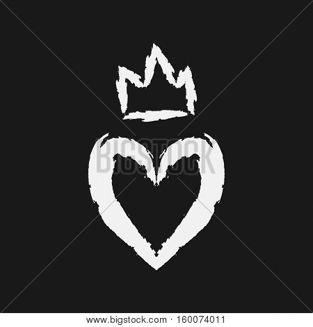 Silhouette of the heart and crown. Drawing a rough brush. Grunge.