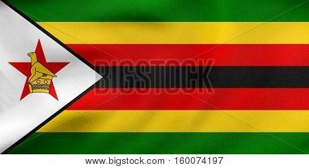 Flag Of Zimbabwe Waving, Real Fabric Texture
