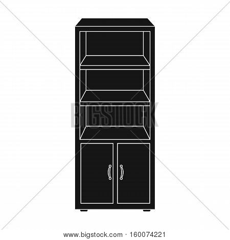 Office bookcase icon in black style isolated on white background. Office furniture and interior symbol vector illustration.