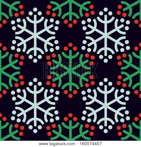 Seamless pattern with decorative snowflakes and plants