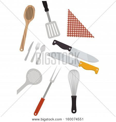 Cutlery turner spoon and knife icon. Kitchen supply tool and cooking theme. Isolated design. Vector illustration