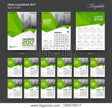 Set Green Desk Calendar 2017 year size 6 x 8 inch template, Set of 12 Months, Week Starts Monday, flyer design