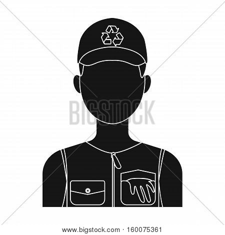 Waste collector icon in black style isolated on white background. Trash and garbage symbol vector illustration.