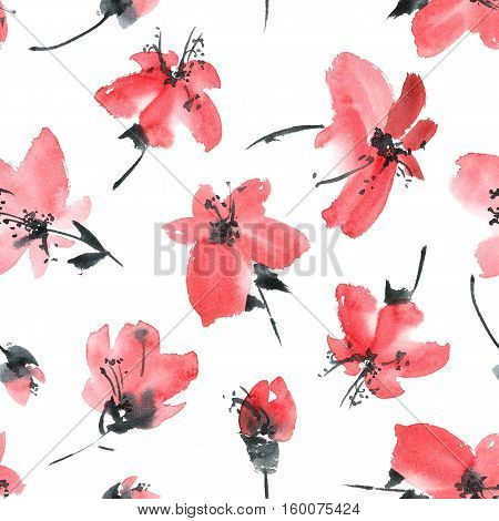 Watercolor and ink illustration of sakura flowers. Sumi-e u-sin painting.