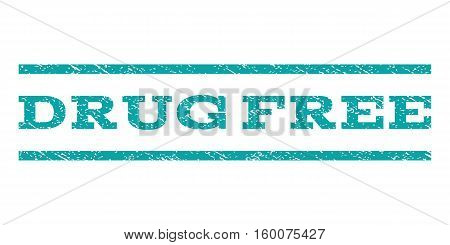 Drug Free watermark stamp. Text caption between horizontal parallel lines with grunge design style. Rubber seal cyan stamp with scratched texture. Vector ink imprint on a white background.