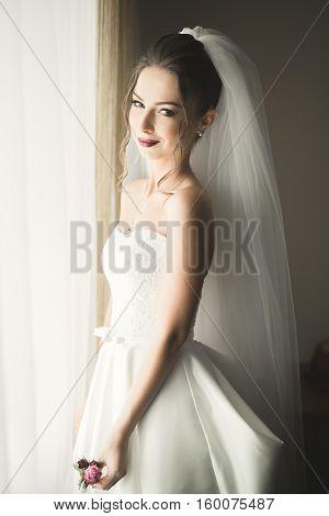 Portrait of beautiful bride with fashion veil at wedding morning. Wedding dress