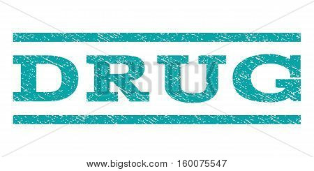 Drug watermark stamp. Text caption between horizontal parallel lines with grunge design style. Rubber seal cyan stamp with unclean texture. Vector ink imprint on a white background.