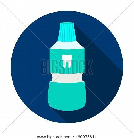 Bottle of mouthwash icon in flat style isolated on white background. Dental care symbol vector illustration.