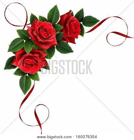 Red rose flowers and silk ribbon corner arrangement isolated on white