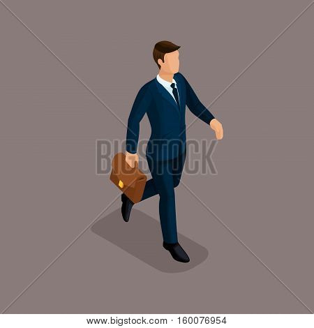 People Isometric 3D businessman in a hurry there is a fast pace with a briefcase isolated on a dark background of a noble.