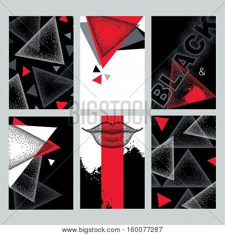 Vector set with design templates in dotwork style. Dotted triangles, blots, lips in red, black and white colors. Abstract background and design elements with dots. Creative print illustrations.