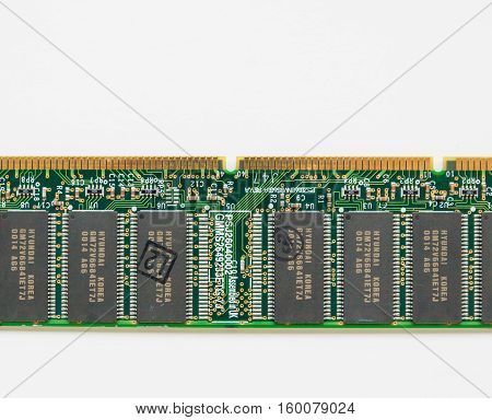 The Hague the Netherlands - December 3 2016: computer component board with gold conductor coatings