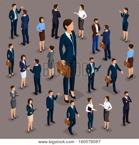 People Isometric 3D the big boss is a woman leader a businessman and a business woman business clothes. The concept of office workers director and subordinates isolated on dark.