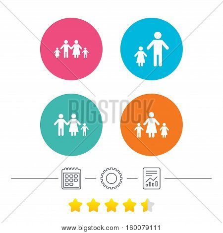 Family with two children icon. Parents and kids symbols. One-parent family signs. Mother and father divorce. Calendar, cogwheel and report linear icons. Star vote ranking. Vector