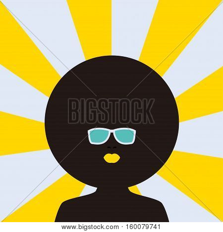 Curly girl Vector illustration Silhouette of afro girl with plump lips and curly hair in sunglasses on the striped background