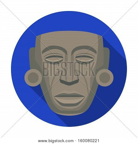 Mayan mask icon in flat style isolated on white background. Mexico country symbol vector illustration.