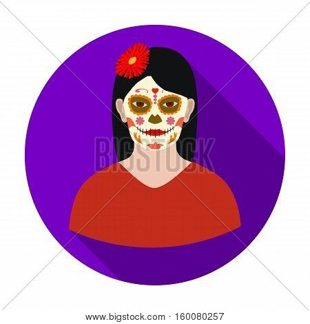 Mexican woman with calavera make up icon in flat style isolated on white background. Mexico country symbol vector illustration.
