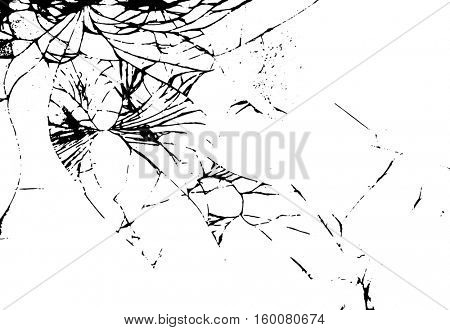 Glass crack on white background. Isolated illustration