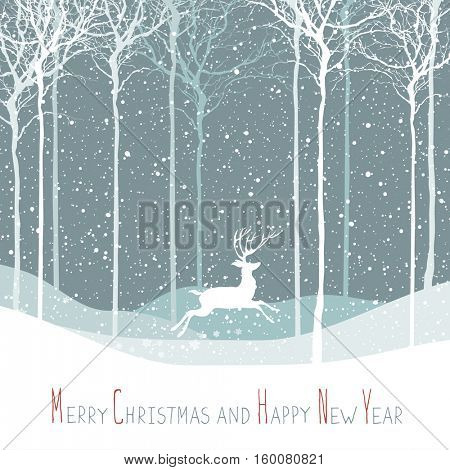 Merry Christmas postcard. Christmas deer. Calm winter scene. Background with white tree silhouettes under snowfall. Calm winter forest. Snowfall