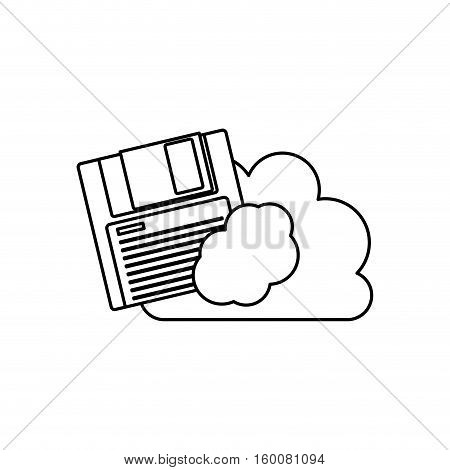 Diskette and cloud icon. Technology media data and information heme. Isolated design. Vector illustration
