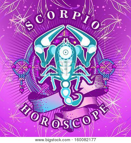 Vector illustration of magic horoscope sign Scorpio style of the 60s bright hippie art
