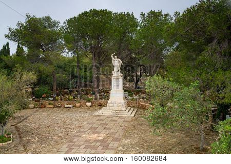 Statue of the prophet Elijah in courtyard of Discalced Carmelite Monastery in Muhraqa on Mount Carmel Israel
