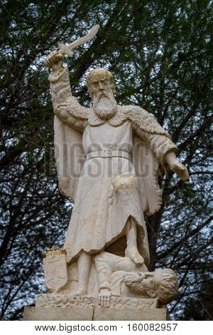 Prophet Elijah Statue in Muhraqa Monastery on Mount Carmel Israel. Close-up