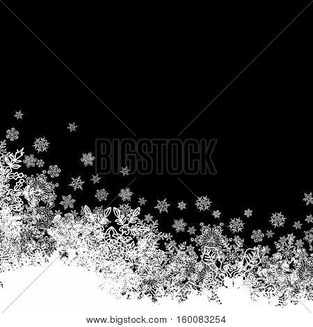 Snowflakes white border silhouette. Bottom line. Isolate on black