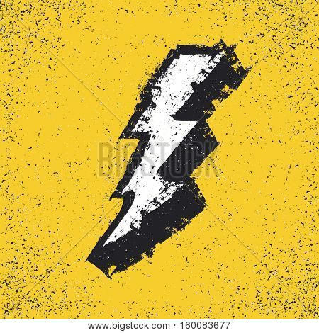 Lightning bolt grunge icon. Thunderbolt illustration. Levin grunge symbol. Grunge design element