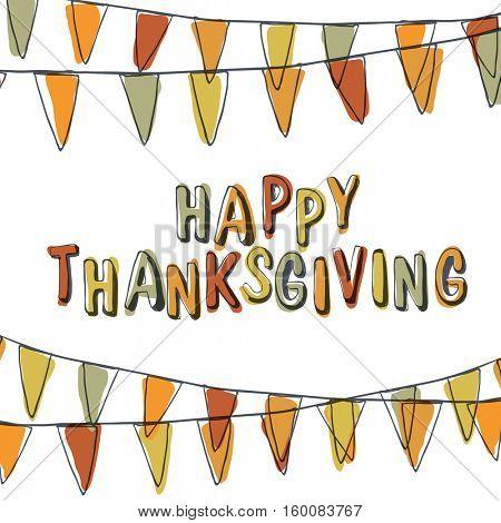 Happy Thanksgiving Postcard. Holiday Pennant Bunting. Hand drawn illustration