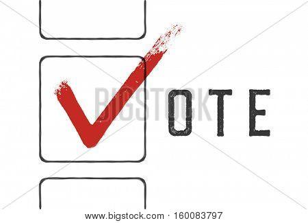 Grunge red checkmarks in checkbox. Vote concept illustration