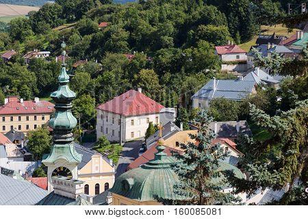 Ancient city Banska Stiavnica Slovakia UNESCO World Heritage - top view of the rooftops